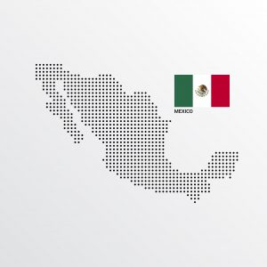 Mexico Map design with flag