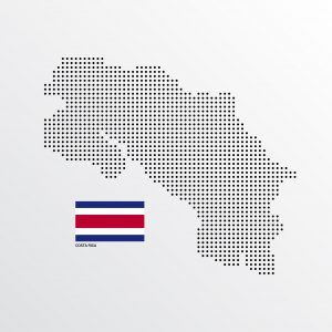 Costa Rica Map design with flag