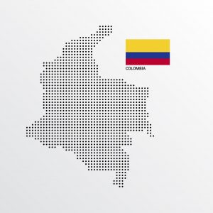 Colombia Map design with flag