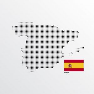 Spain Map design with flag